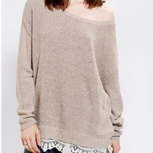 Pins and Needles Taupe Lace Hem Oversize Sweater